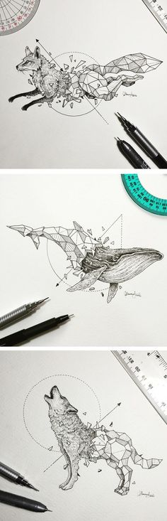 Illustrations by Kerby Rosanes | geometric drawing | pen drawings | animal illustrations