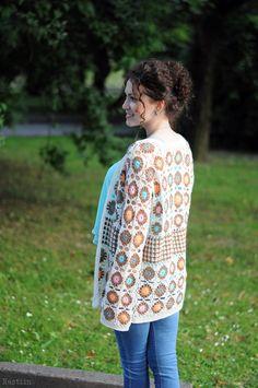 SALE Crochet granny square cardigan White crochet by Nastiin