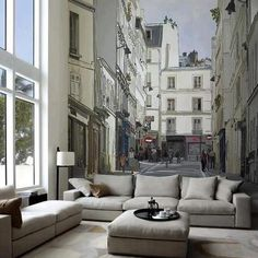 Perfect example of how to use a wall mural to make a room seem larger.