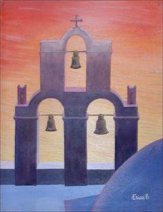 Grecia rosa - olio su tela fatta a mano - 1998 (44x56)