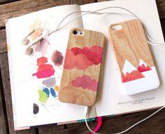 Jeu de 2 - cas iPhone Cloud & montagne, affaire iPhone 5 s, iPhone 5 cas, cas de l'iPhone 4 s, étui iPhone 4 - rose aquarelle rouge sur bois...