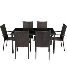 Lima 6 Seater Patio Furniture Dining Set   Black.