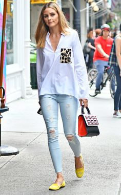 Olivia Palermo from The Big Picture: Today's Hot Pics The fashionista looks cute and casual while taking a stroll around New York in her monogramed shoes.