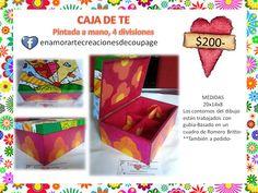 TIENDA DE REGALOS- caja de te, totalmente pintada a mano- descubri mi pagina con los productos a la venta- https://www.facebook.com/enamorartecreacionesdecoupage
