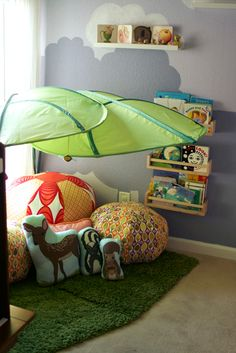 reading nook! ikea leaves! a place to put all the pillows i can't put in the crib! I LOVE IT.