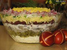 Wielkanocna warstwowa sałatka na kolorowo Tzatziki, Easter Recipes, Food Design, Creative Design, Salad Recipes, Food And Drink, Appetizers, Cooking Recipes, Nutrition