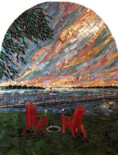 Our Happy Place | Rhonda Heisler Mosaic Art 42 h x 34 w,  2015 handcut opaque stained glass. Commissioned by private collectors to be installed in a niche in their home wine cellar. Photography by the artist.