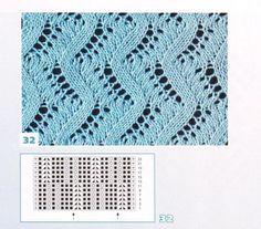Lace Knitting Stitches, Lace Knitting Patterns, Knitting Charts, Lace Patterns, Loom Knitting, Stitch Patterns, Knitting Projects, Tricks, Knit Crochet