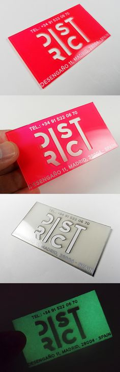 Amazing Glow In The Dark Laser Cut Plastic Business Card Design