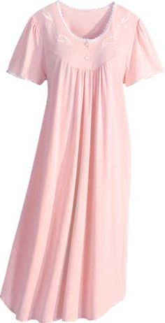 Cotton Knit Nightgown with Lace and Satin Trim