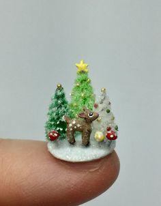 Miniature Dollhouse Christmas Reindeer Rudolph OOAK Putz Snowy Scene  | eBay