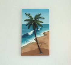 Palm Tree on a Beach with Sand & Wood Wall Art, Beach Painting with Palm Tree & Sand for Coastal home decor. Created on a box canvas and includes the sides to enhance the effect. Dimensions: High x 12 Wide x Deep x x Weight; This uniquely-styled Beach Wall Decor, Tree Wall Decor, Palm Tree Art, Palm Trees, Wood Feather, Feather Painting, Painting Canvas, Purple Painting, Beach Artwork