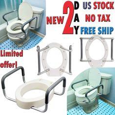 e664d5d6f66e2 Medic Toilet Seat Elevator Raised Riser Standard Elongated Height Handicap  Arms  Branded