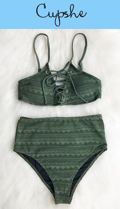 Treat yourself something special~ Cupshe Perfect Emerald Lace Bikini Set features hot lace-up at front & adjustable shoulder straps and back hook closure offer great support. Love its fabric! Take more pieces with free shipping~ Shop Now!