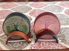 Celtic Tree of Life Leather Coaster Set by EllaValentina on Etsy