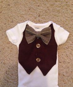 Barron - Baby Boy Clothes - Newborn Outfit - Baby Shower Gift - Trendy - Preppy - Vest - Bow tie - Photo Prop