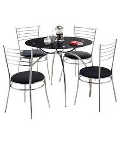 Eydon Black Glass Dining Table And 4 Chairs Argos