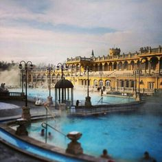 Healing waters soothe frostbitten toes at #SzechenyiBaths, #Budapest, #Hungary. Image by @stevieomac.