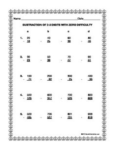 math worksheet : subtraction worksheet  subtraction across zeros  36 questions  : Subtraction With Zeros Worksheet