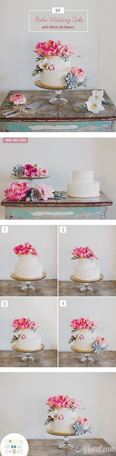 Green Wedding Shoes DIY Boho Wedding Cake with silk flowers from Afloral.com.  Afloral.com has high-quality silk flowers for your DIY wedding ideas and beautiful cake stands and decorations for your event decor.