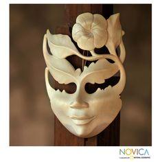 Novica Frangipani Summer Vintage Modern Art Handmade Artisan Designer Home Decor Accent Natural Hibiscus Wood Gift Mask (Indonesia) (Solid), Green