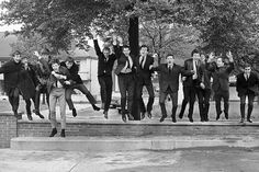 The Beatles pal about with fellow Liverpool pop royalty, Gerry and The Pacemakers, Billy J.Kramer and the Dakotas. Paul takes a flying leap with the Pacemakers' Gerry Marsden holding on for dear life. 18th June, 1963.