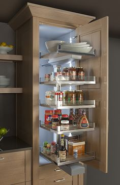 As awesome as roll-out shelves are, why not optimize your pantry with built-in lighting so you can easily see all of its contents?    LAVIDO Pull Out Pantry - Rutt Cabinetry