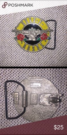 Music Belt Buckle Rock N Roll Red Guitar Design Authentic C /& J Buckles Product