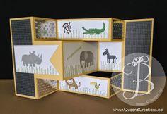 Zoo Babies Tri-Shutter Card   Queen B Creations