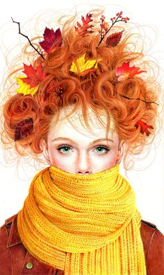 Fall frazzled girl made with colored pencils