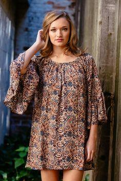 Paisley Print Dress with Bell Sleeves - gilt + gossamer