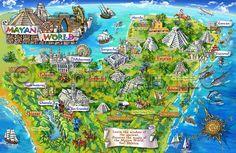 Mexico illustrated map - Mayan world Aztec Ruins, Mayan Ruins, Mayan History, Mayan Cities, Tourist Map, Quintana Roo, Cancun Mexico, Travel Maps, Travel Destinations