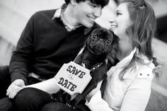 adorable engagement session with their pet pug! Save the Date! entire session on the blog! by Athens wedding and engagement photographer: Claire Diana Photography #dog #pug