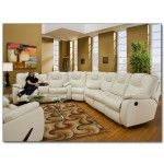 Recline Designs Furniture - Camry White Leather Reclining Sectional  SPECIAL PRICE: $1,829.00