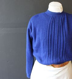 wool bleated cobalt sweater m by cheapopulance on Etsy, $30.00
