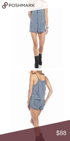 NWT Free People Wainwright Chambray Romper Brand New with Tags (NWT). Free People Wainwright Chambray Romper, size Large. Stay comfortable in style wherever you go wearing this chambray romper. The adjustable spaghetti straps create an exciting silhouette.  * Approximately 29-in. L, 1-in. inseam * Zip closure * Scoop neck * Sleeveless * On-seam pocket, zip patch pocket * Unlined * Chambray fabric * Cotton, viscose * Machine washable Free People Pants Jumpsuits & Rompers
