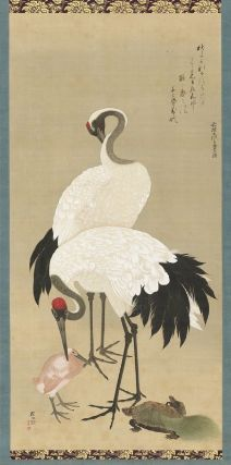 Storks And Turtles  鶴亀図  Kyoto  Hara Zaisei, Japanese, died in 1810, Hanging scroll; ink and color on silk, MFA