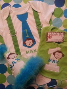 Mod Monkey Personalized Birthday Onesie, Bib, and Party Hat Set | sockmonkeyshop - Children's on ArtFire  $62.50