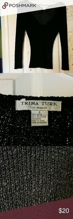Lightweight Trina Turk sweater Black knit Trina Turk pullover top Trina Turk Tops