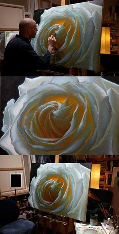 Oil painting of a white rose, by artist Vincent Keeling