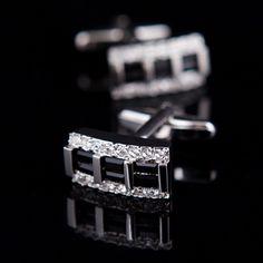 Black Crystal Inlay Cufflinks