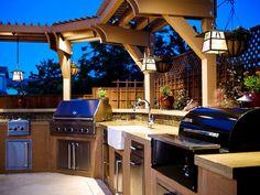 My dream backyard kitchen Backyard Kitchen, Outdoor Kitchen Design, Backyard Patio, Outdoor Kitchens, Outdoor Cooking, Outdoor Grilling, Outdoor Entertaining, Outdoor Parties, Nice Backyard
