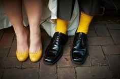 Groom's socks match Bride's shoes...love!