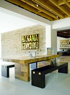 Marison Dining Table made from reclaimed Brazilian Peroba Rosa wood, Paulista Benches, Ipanema Armchair, Banana Pancakes by Peter Tunney