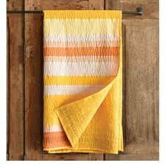 Spice Yellow Stripe Cotton Kantha Throw - one of skyiris.com top picks for quilted throws