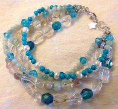 Beachy Blue Multi Strand Bracelet. by ZhiJewelry on Etsy, $35.00