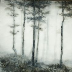 Foggy Morning - Blair Lambert - does landscape painting in oils encased in layers of encaustic wax. Created by painting with oils between layers of wax the works have a deep sense depth and art Landscape Art, Landscape Paintings, Timberwolf, Wax Art, Foggy Morning, Encaustic Painting, Painting Art, Paintings I Love, Tree Art