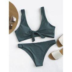 Bow Tie Front Scoop Back Bikini Set