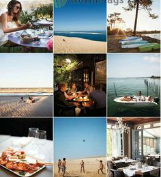 Description: Clockwise from top left: enjoying an oyster platter at Chez Boulan; Dune du Pilat; sunset in the Cape Ferret; the lagoon; Le Bistrot du Bassin; Atlantic beach at Cap Ferret; shellfish lunch at the Pinasse Café; Cap Ferret beach. Centre, the terrace at La Maison du Bassin