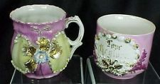 Victorian Cups  Giver Mustache Style Gold Raised Flowers